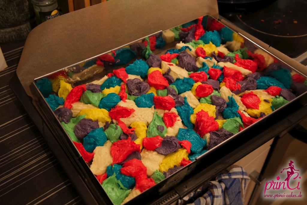 Regenbogen kuchen im blech
