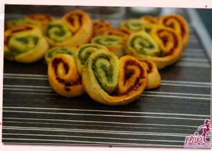 Pesto-Wirbel schneller WM Snack