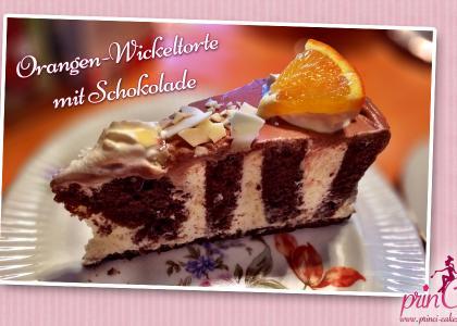 Orangen-Wickeltorte mit Schokolade